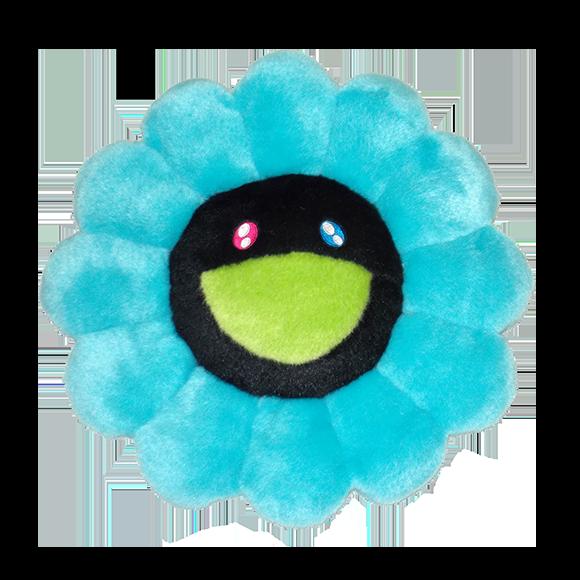 【新色】お花クッション ブルー x ブラック(30cm)