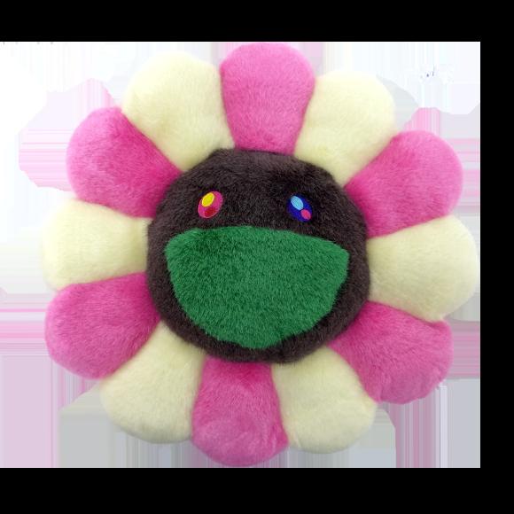 【新色】お花クッション ピンクアイボリー x ブラウン(30cm)