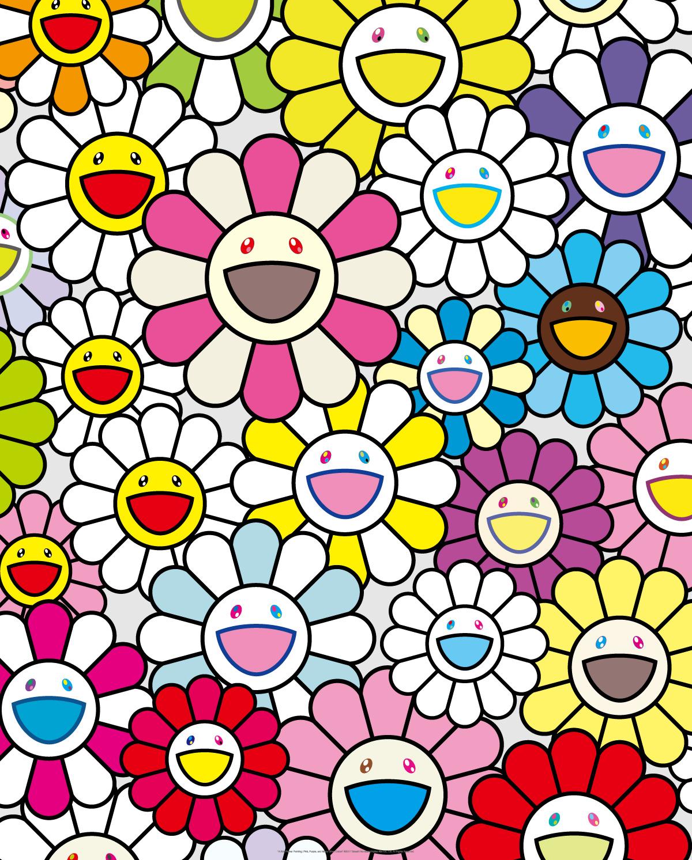 小さなお花の絵:ピンクや紫やいろんな色