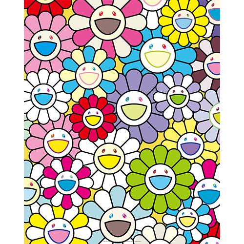 小さなお花の絵:黄色や白や紫のお花たち