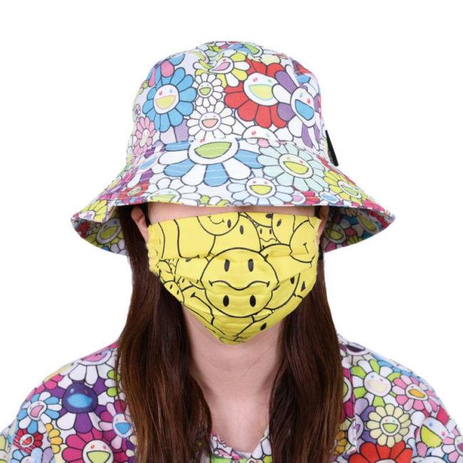 Tonari no Smiley-kun Pattern Mask / Lemon Yellow (BK)
