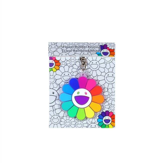Flower Rubber Keyring ClearRainbow&White
