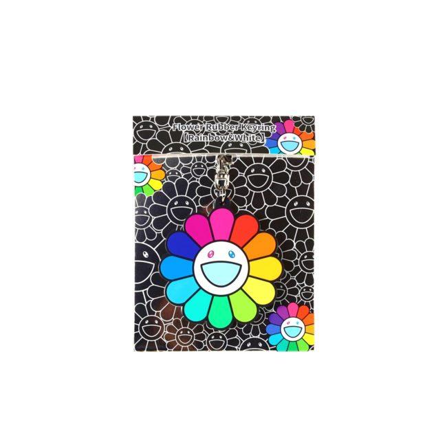 Flower Rubber Keyring Rainbow&White