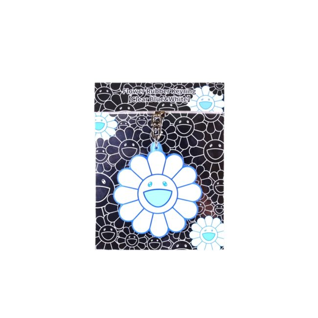Flower Rubber Keyring ClearBlue&White