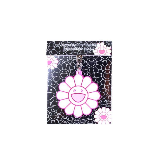 Flower Rubber Keyring ClearPink&Cream