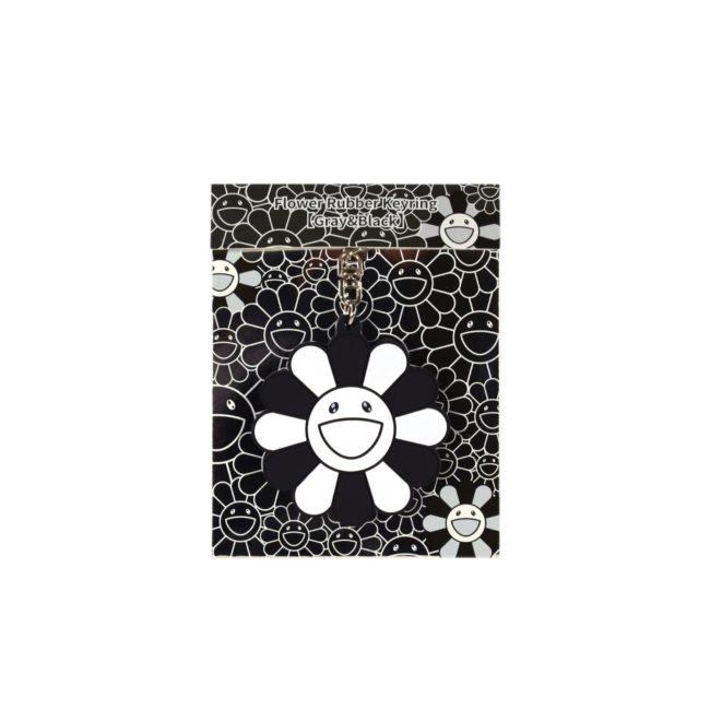 Flower Rubber Keyring Gray&Black
